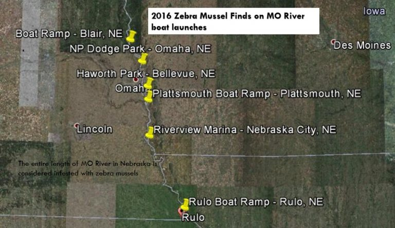 Map of Missouri River with Zebra Mussel boat launch finds from 2016